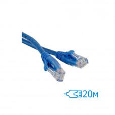 Патч-корд 20м UTP Cat.5e литой синий RJ45, CCA