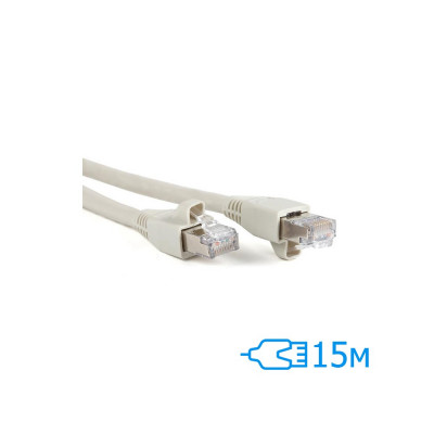 Патч-корд 15м FTP Cat.5e литой серый RJ45, CU